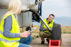 Checking aircraft's tire stock image