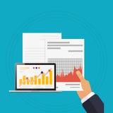 Checking analyzes illustration laptop blue background Royalty Free Stock Image