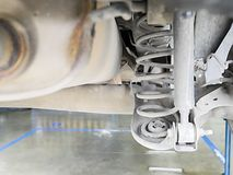 Checking back shock absorbers of car for repair and maintenance at car service center.  stock photo