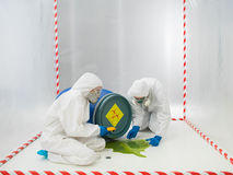 Checking a biohazard in a containment tent. Two laboratory technicians or scientists checking a biohazard that has spilled from an overturned drum in a stock photos