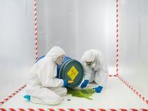 Checking a biohazard in a containment tent Stock Photos