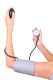 Checking blood pressure stock image