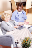 Checking blood pressure Stock Images