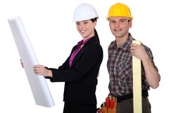 Checking the blueprints. Before they start building Stock Photo