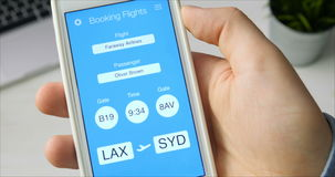 Checking boarding pass using mobile application on the smartphone. Using smartphone application stock video