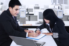 Checking the business document at office Stock Images
