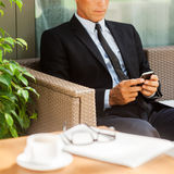Checking business messages. Stock Photo