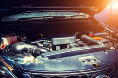 Checking car engine and Auto Repair Royalty Free Stock Photo