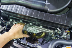 Checking car engine. Close-up details Royalty Free Stock Images