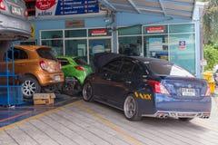 Checking a car at garage Royalty Free Stock Images
