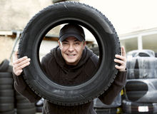 Checking Car Tire Royalty Free Stock Photo
