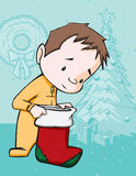 Checking the Christmas Stocking Royalty Free Stock Image