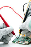 Checking Circuit by Multi-Meter. Stock Images