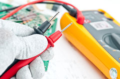 Checking Circuit by Multi-Meter Royalty Free Stock Photography