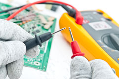 Checking Circuit by Multi-Meter. Stock Photo