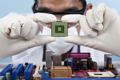 Checking the computer microchip. A scientist about to put a computer microchip on to a motherboard stock photo