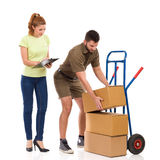 Checking the delivery. Inventory Royalty Free Stock Images