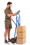 Checking the delivery status Stock Images