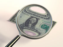 Checking a dollar. A dollar bill under a magnifying lens. CG illustration Stock Image