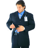 Checking On Electronic Pager stock images