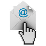 Checking Email. E-mail and hand cursor on white background vector illustration