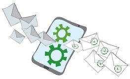 Checking email security mechanism Stock Photo