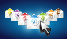 Checking emails. set of envelopes with email Stock Photos