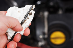 Checking the engine oil level Royalty Free Stock Photography