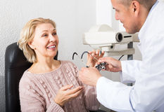 Checking eyesight in clinic Royalty Free Stock Photo