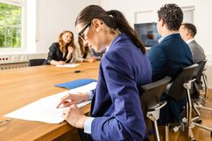 Checking facts during business meeting Royalty Free Stock Photography