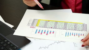 Checking Financial Data stock footage