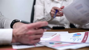 Checking Financial Report stock video footage