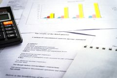 Checking financial reports. Graphs and charts. Accounting analysis stock photo