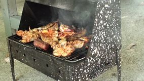 Checking grill zoom in close up. Zoom in grilling, checking if the food is ready, close up stock footage