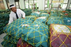 Checking hajj bags Royalty Free Stock Photos