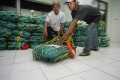 Checking hajj bags Stock Photo