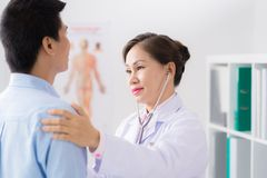 Checking heartbeat Royalty Free Stock Image