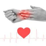 Checking heartbeat Stock Photo