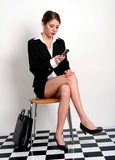 Checking her voicemail stock photography