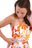 Checking her waist Royalty Free Stock Photography