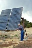Checking His Solar Panels Royalty Free Stock Photo