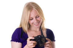 Checking the images on the camera Royalty Free Stock Image