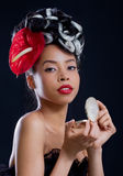 Checking makeup stock photo