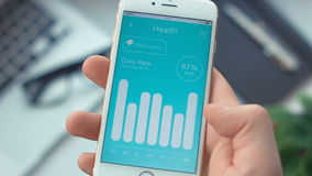 Checking medication monitoring on health app on the smartphone stock video footage
