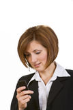 Checking the mobile phone Stock Image