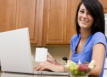 Checking Morning E-mails Royalty Free Stock Image