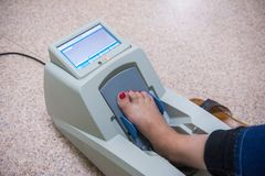 Checking the osteoporosis. Checking osteoporosis on modern electronic device stock photo