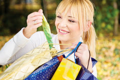 Checking out bag content Stock Photography