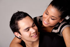 Checking out my Indonesian lover with a smile Stock Photo