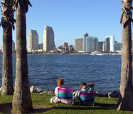 Checking out the view. San Diego Skyline view from Coronado Island Royalty Free Stock Images
